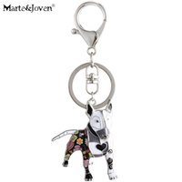 Wholesale dogs enamel charms online - Marte Joven Unique Bull Terrier Keychain Gift for Women Girls Dog Lover Multicolor Enamel Pets Dog Charm Keyring Jewelry