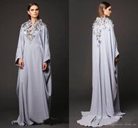 Wholesale butterfly inspired fashion resale online - Arabic Dresses Party Evening Gowns V Neck Butterfly Appliques Long Sleeve Prom Dresses Muslin Dubai Abaya Mother Of Bride Celebrity Gowns