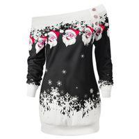 AZULINA Sweatshirt Women New Fashions Santa Claus Snowflake Skew Neck Autumn Causal Long Pullover Sweatshirts Top