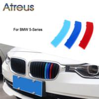 Wholesale film strip - Atreus 3pcs 3D Car Front Grille Trim Sport Strips Cover Stickers For BMW E39 E60 F10 F07 G30 5 series GT M