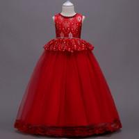 robes de piano achat en gros de-Robes de demoiselle robes de soirée pour enfants robes de princesse piano blanc performance filles florales bébé fille robe de mariée robe de mariée