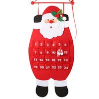 tela de decoración de oficina al por mayor-Res Navidad Adviento Calendario Santa Claus Muñeco de nieve Elk con ganchos de tela Navidad Año Nuevo Adornos de Navidad Home Office Decoration