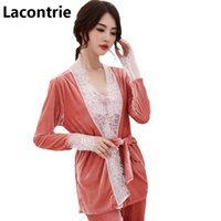 5f71abcdc1 Lacontrie pajamas sets women spring autumn long-sleeved lace stitching  shirts+sling+long pants 3pcs suit sets sexy pajamas N009