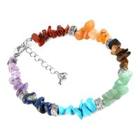 Wholesale chip bracelets wholesale - 7 Chakra Reiki Women Bracelets Chain Link Lobster Clasp Healing Balance Natural Chip Stone Beads Meditation Rainbow