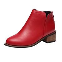 matorrales zapatos al por mayor-Mnycxen mujeres tobillo invierno friega el talón grueso botas Martin señoras puntiagudas Zapatos De Mujer Bota Feminina Chaussures Femme25