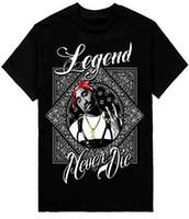 ingrosso t-shirt da stampa di bandana-T-Shirt da uomo 2Pac Legend Bandana Stampa stampata su T-Shirt pesante Shaka Wear