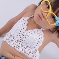 Wholesale L Child Bikini - Crochet Child Bikini Swimsuit Swimwear High Waisted Bathing Suit for Kids Baby Girls Bikini Top