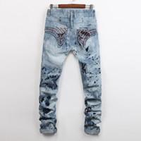 personalisierte perlen großhandel-Männer Frühling Sommer Neue Mode Jeans Männer Große Größe Heiße Perlen Schmuck Personalisierte Teen Street Jeans Größe 28-38