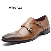 квадратная обувь для мужчин оптовых-Misalwa Men's Double Monk Strap Slip On Loafer Leather Oxford Square Toe Classic Formal Shoes Casual Comfortable Dress Shoes Men
