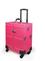 Wholesale Trolley Case Cosmetics - Professional Cosmetic Tool Box Trolley Nail Making Cosmetic Organizer PINK Portable Women Makeup Case Multi-storey Case