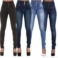 Wholesale black denim jeggings - Black Blue High Stretch Skinny High Waisted jeans Womens Fashion Slim Designer Best High Rise Denim Jeggings Casual Jean Pants For Ladies