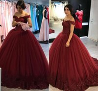 Wholesale romantic shorts for sale - Romantic Burgundy Ball Gown Quinceanera Dresses Off Shoulder Appliques Sweep Train Evening Dresses Custom Made Prom Dresses