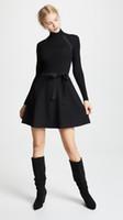 kıyafet elbisesi siyah toptan satış-2018 İtalya Siyah Saf Renk Uzun Kollu Streç Örgü Yuvarlak Yaka Lady Şerit Ilmek Tek Parça Elbiseler Kadın Elbise MS930 Kırmızı Güz Sonbahar