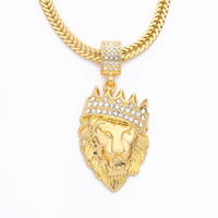 Wholesale Wholesale Gold Crown Charms - Hip Hop Gold Plated Lion Head Pendant Men Necklace King Crown Iced Out Fashion Jewelry For Gift