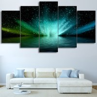 Wholesale lake picture frame - Posters Frame Painting HD Printed Home Decor 5 Panel Beautiful Bright Starry Lake Scenery Modern Living Room Wall Art Pictures