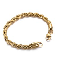 Wholesale Gold Bracelet Twisted Rope Chain - 2018 Latest Men Gold Twist Rope Chain Bracelet Fahshion 316L Stainless Steel IP Plating High Quality Jewelry 6mm*20cm