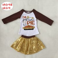 4a987a77e61 Girl Thanksgiving 2PCS Set Kids Long Sleeve tops + gold sequin Skirt Outfit  Children Birthday Party Clothes for 1-8T