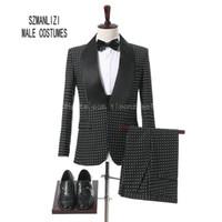 özel blazerler erkek toptan satış-2018 Kostüm Homme Custom Made Özel Günlerinde Erkekler Suit Siyah Beyaz Noktalar erkek Blazers Damat Smokin Gelinlik Balo Suits Bridegrom