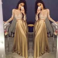 Wholesale Beautiful Silk Dresses - Beautiful Lace Long Sleeve Gold Two Piece Prom Dresses 2017 Satin Cheap Prom Gowns Sheer Golden Party Dress