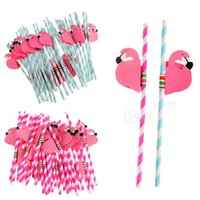 Wholesale cocktail party supplies for sale - Group buy New Design Flamingo Striped Straws Luau Beach Tropical Party Barware Favor Xman Cocktail Wedding Party Supplies Decor Gift Acces