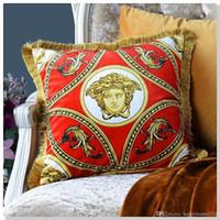 ingrosso cuscini marroni neri-Lusso carattere astratto modello Segnaletica V nappa velluto materiale Cuscino Caso Cuscino Decorazione della famiglia Regali di Natale