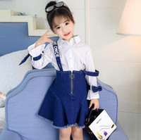 Wholesale Girl S Denim Dresses - Baby girl outfits Autumn baby girl white shirt +denim dress 2 pieces fashion Child Clothes Kids Clothing 5 s l