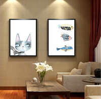 mural fish 2018 - Cat and fish hand painted diamond painting cross stitch bedroom living room mural diamond Paste a diamond drawing Homemade gift