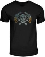 мужские рубашки шпильки оптовых-Горный хрусталь шпильки оружие череп кости пират swatt мужская черная футболка Бесплатная доставка Марка рубашки джинсы печати
