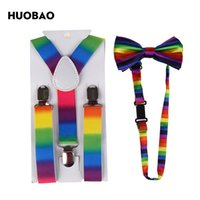 Wholesale Rainbow Bow Tie - HUOBAO 2017 Fashion Colorful Rainbow Striped Suspenders And Bow Ties Sets For Children