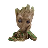 macetas de arboles al por mayor-Guardianes de la galaxia Flower Pot Tree Man Groot figuras de acción Pen Container Home Decor Kids Toy 19yf WW