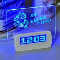 saat takvim kartı toptan satış-Yeni LED Dijital Saat led Aydınlık Mesaj Panosu Çalar Saat Takvim Ev Dekor için Masaüstü Saatler