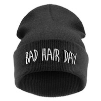 Wholesale cheap knitted hats for women - Bad Hair Day Skullies & Beanies for Women Black Color Hats for Winter Knit Beanie Hip Hop Female Cheap Gorras Adult Hats