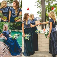 свадебное платье невесты оптовых-Искрящийся блесток из двух частей платья невесты страна сверкающих сочетание Матч же цвет другой стиль свадебное платье гостя дешевые фрейлина