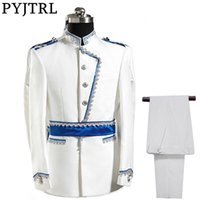 PYJTRL Europe Armée Style Stand Collier Blanc Bleu De Mariage Pour Hommes  DJ Stage Chanteur Hommes Costumes Avec Pantalon Costume Homme Slim Fit d4d9e4c616c