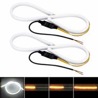 Wholesale led headlight strip - LONGFENG LF56 Flexible Car DRL Running Turn Signal White Amber LED Flowing Bar Silicone Daytime Running Light Headlight Strip