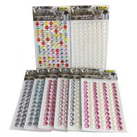 dekoratif kendinden yapışkanlı toptan satış-84 Birimleri 6mm Kristal Strass Taş Sticker Kendinden Yapışkanlı Yuvarlak Reçine Rhinestone Şeritler Cep telefonu DIY Dekoratif 20 Adet / grup