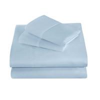 literie draps housse achat en gros de-Ensembles de literie de coton ponçage d'hiver 3 pcs Ensembles de literie bleu pâle brossé Drap de lit double poche / jumeaux XL