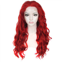 Wholesale hot lady cosplay for sale - Group buy Hot Halloween Lace Front Wigs long Wavy Red Color Wigs For Women Lady Heat Resistant Fiber Synthetic Lace Wig Cosplay Party inches