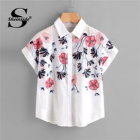 a6aa9de2d2 short sleeve work blouses 2018 - Sheinside White Floral Embroidery Shirt  Women Roll Up Sleeve Button