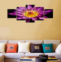 leinwand lila blume wand kunst großhandel-Hot Purple Seerose Schöne Blume Ungerahmt Malerei Moderne Leinwand Wandkunst Esszimmer Dekor 5 Stücke Landschaft Bilder