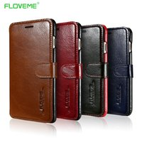 Wholesale iphone flip real for sale – best Floveme Genuine Leather Phone Case For Iphone Plus Book Case s Plus Flip Card Slots Real Leather Cover For Iphone Capa