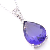 Wholesale fire gem for sale - New LuckyShine Top Fire Drop Amethyst Gems Crystal Sterling Silver Fashion Women Wedding Pendants Necklace chain