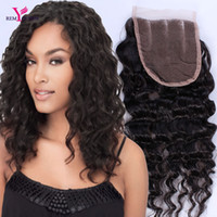 brazilian remy saç fiyatı toptan satış-Remy Kraliçe 3 Bölüm 4x4 Inç Derin Dalga Dantel Kapatma Brezilyalı Bakire İnsan Saç En Kaliteli Ucuz Fiyat Ağartılmış Knot