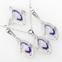 Wholesale Purple Costume Jewelry - whole saleAttractive Purple CZ Silver 925 Costume Jewelry Sets Pendant Necklace Rings Earrings For Women Wedding Jewelery Free Gift Box