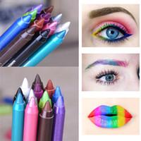 Wholesale Multi Color Gel Pens - New Fashion Color Pigment Multi-functional Waterproof Makeup Eyeliner Pencils Natural Long Lasting Gel Eye Liner Pen