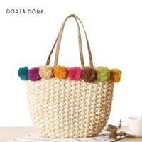 сумочки из ткани оптовых-2018 Bohemian Beach Bag for Women  Handmade Straw Bags Summer Handbags Drawstring Basket Bag Travel Tote fabric ball