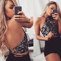 camisola preta de lantejoulas venda por atacado-2018 Mulheres Sexy Colete de Verão Top Sem Mangas Camisole Halter Lantejoulas Curtas Sem Encosto Regatas ChampagneBlack