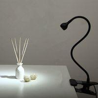 ingrosso la lampada da tavolo ha portato il bianco caldo-Lampada da tavolo a LED con clip 1W Lampada da lettura a LED flessibile Alimentatore USB Lampada da tavolo LED per libri Calda luce bianca / bianca