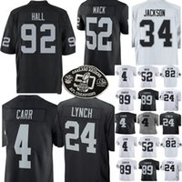 Wholesale raiders jerseys - Oakland 24 Marshawn Lynch 4 Derek Carr jersey 92 P.J. Hall Raider Jerseys Men 52 Khalil Mack 89 Amari Cooper stitched Jerseys