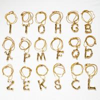 ingrosso chokers unici-Unico 4cm 26 lettere A ~ Z pendente in lega girocollo catena d'oro Collana donna Mens catene di gioielli in vetro con cristalli regalo di Natale